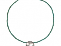 Turquoise Heishi with round domed Linear pattern silver pendant