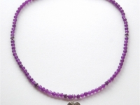 Amethyst and Sterling-Silver Necklace with Linear-Pattern-Silver-Heart-Pendant