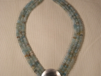 3 Strand Aquamarine Necklace with Sterling Silver Linear Pattern Medallion and Clasp
