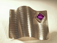 Sterling Silver Linear Pattern and Amethyst Brooch