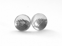12mm Sterling Silver Linear Pattern Round Concave Studs. Price £15