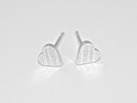 Teeny Tiny Linear Pattern Sterling Silver Heart Stud Earrings £12 excl P&P