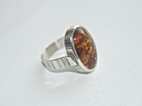 Oval Amber LInear Pattern Ring